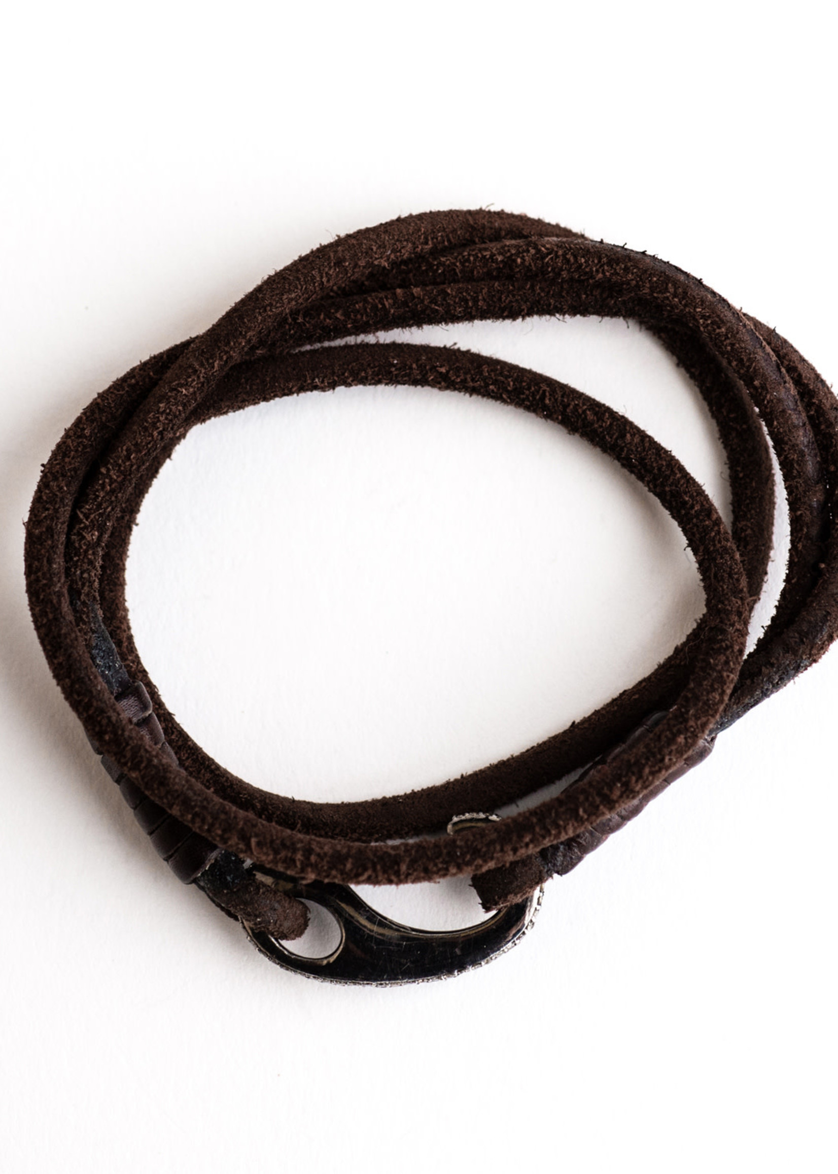 Mina Danielle Chocolate Brown Leather Wrap with Diamond Bungee Clip