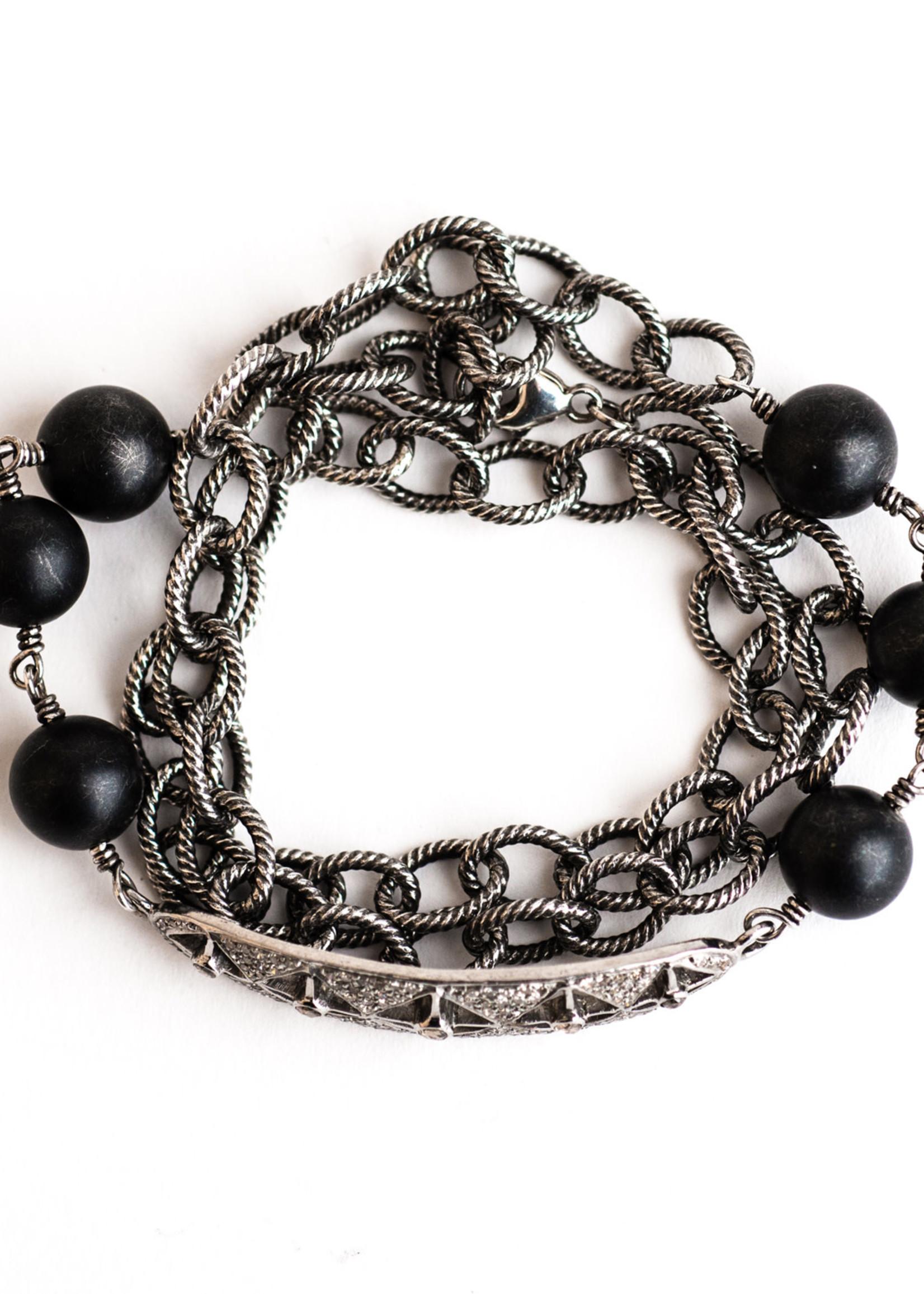 Mina Danielle Diamond Bar with Black Onyx and Oxidized Chain