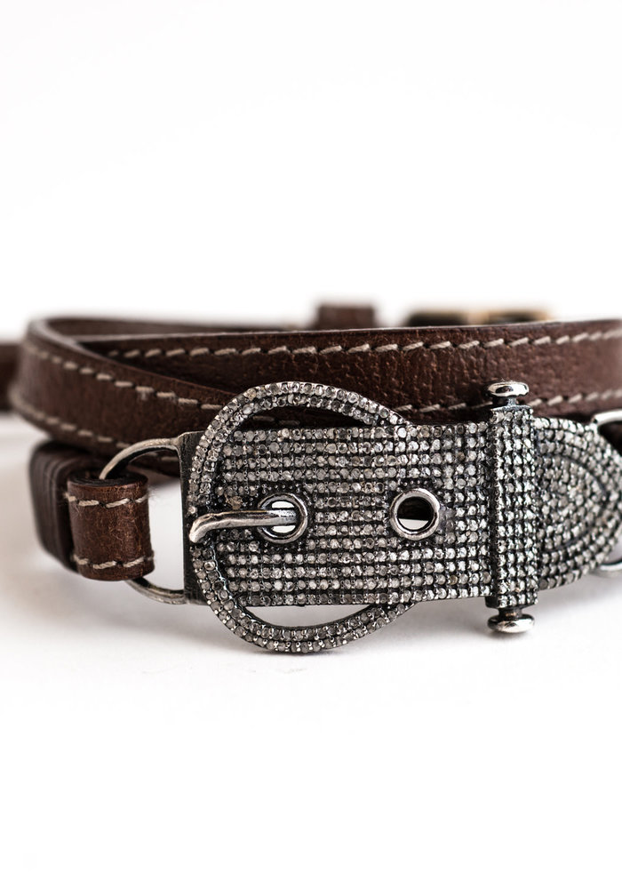 Pavé Diamond Buckle on Brown Stitched Leather