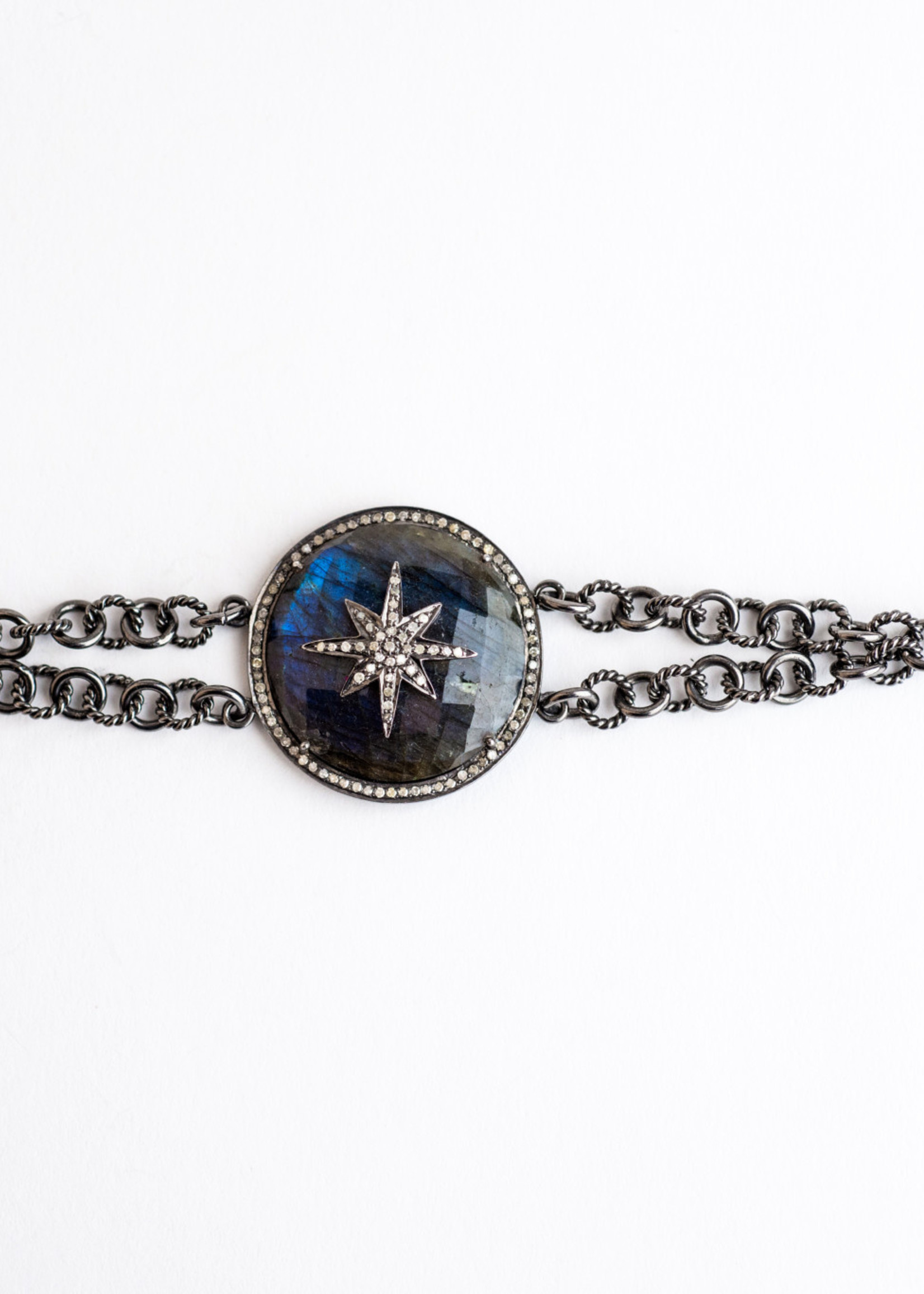Mina Danielle Labradorite and Diamond Star Pendant on Double Strand Oxidized Chain