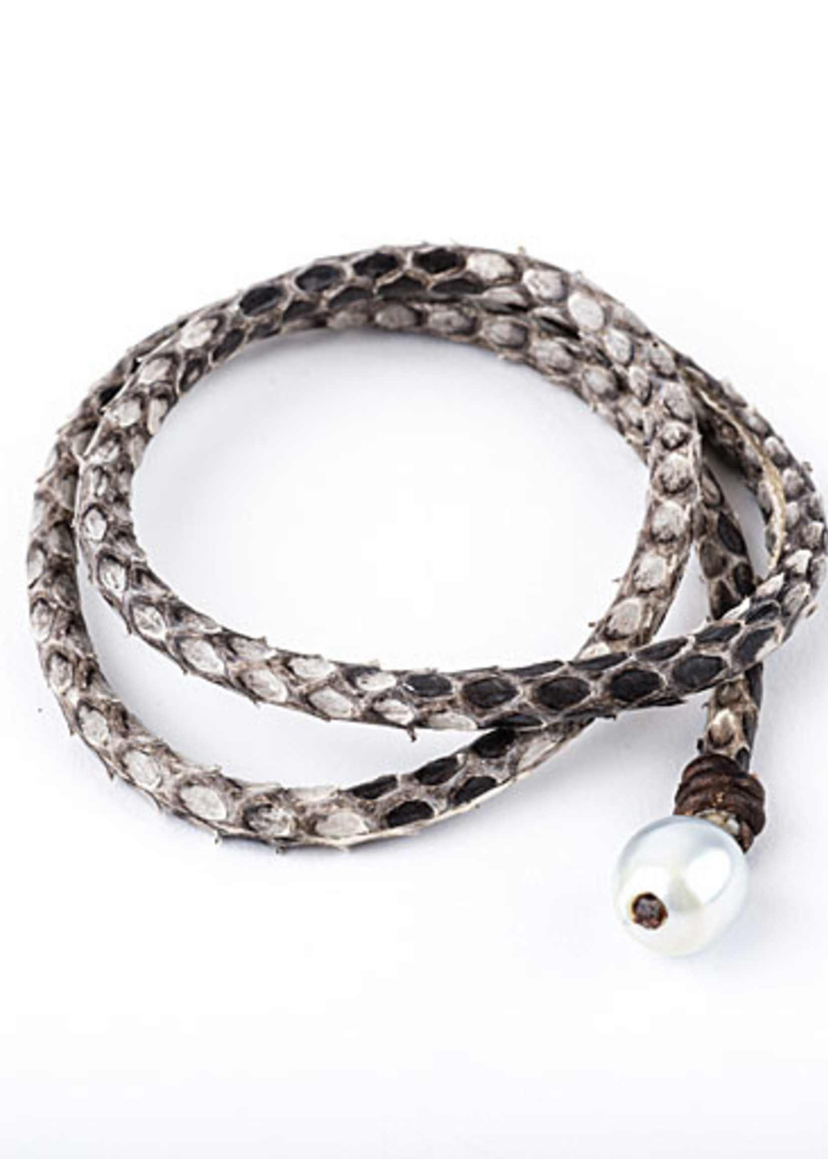 Mina Danielle Snakeskin Leather Wrap with Pearl