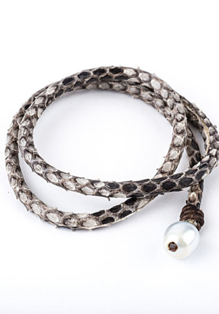 Snakeskin Leather Wrap with Pearl