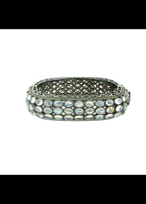 Mina Danielle Moonstone and Diamond Bangle Bracelet