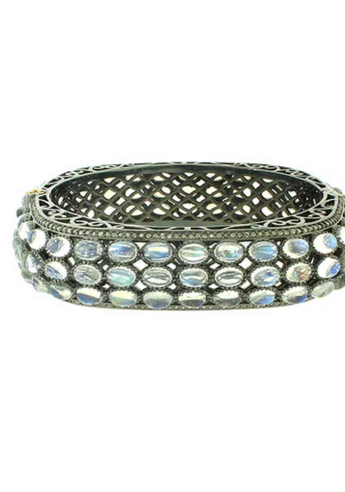 Moonstone and Diamond Bangle Bracelet