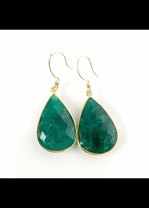 Mina Danielle Large Emerald Teardrop Earrings