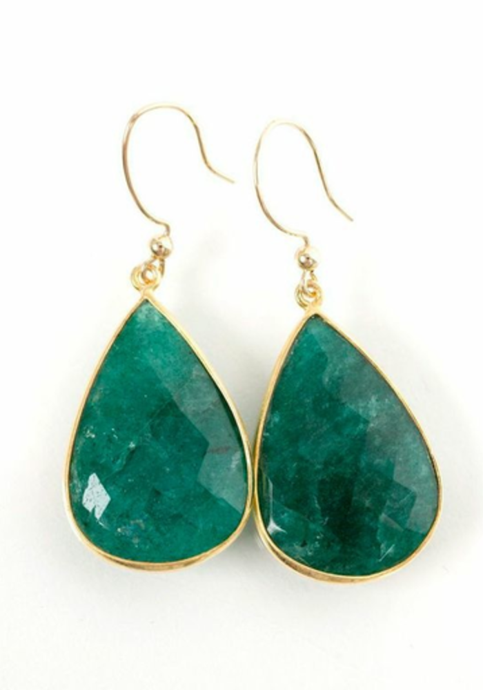Large Emerald Teardrop Earrings