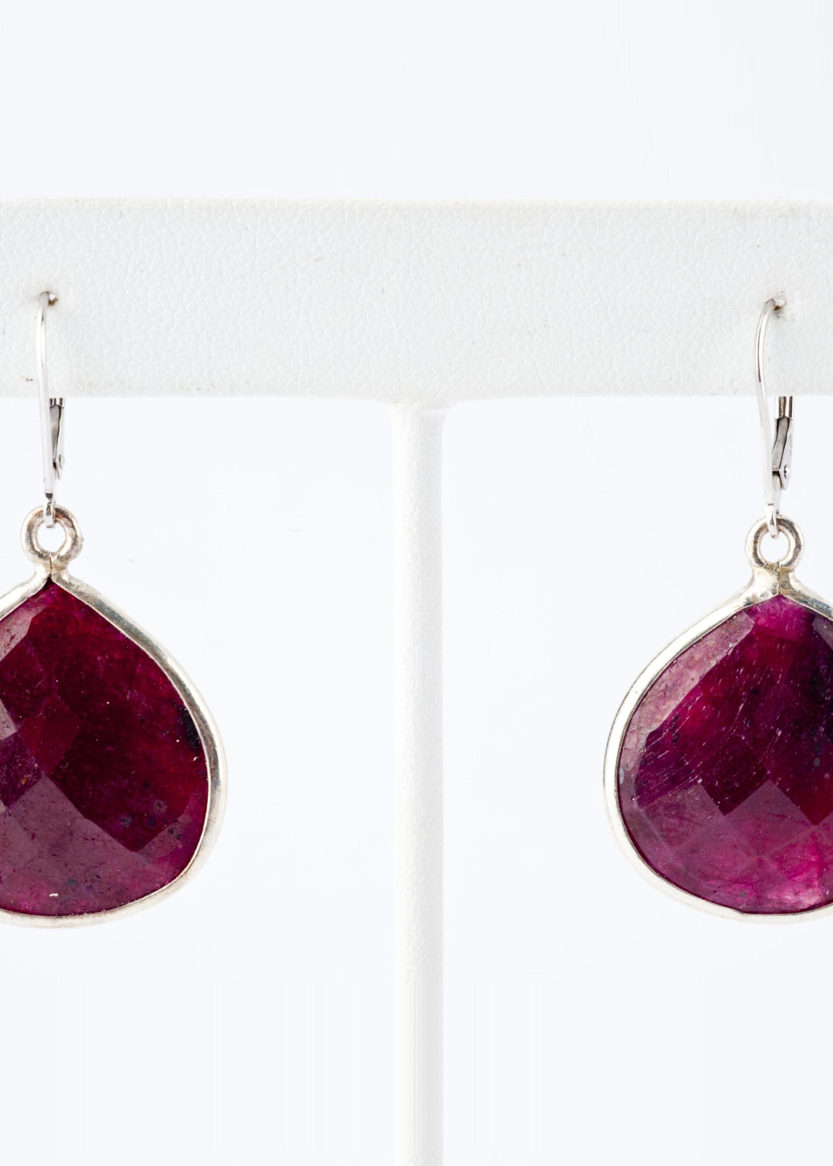 Mina Danielle Ruby Pear Shaped Earrings