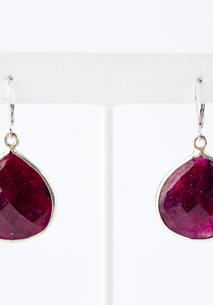 Ruby Pear Shaped Earrings
