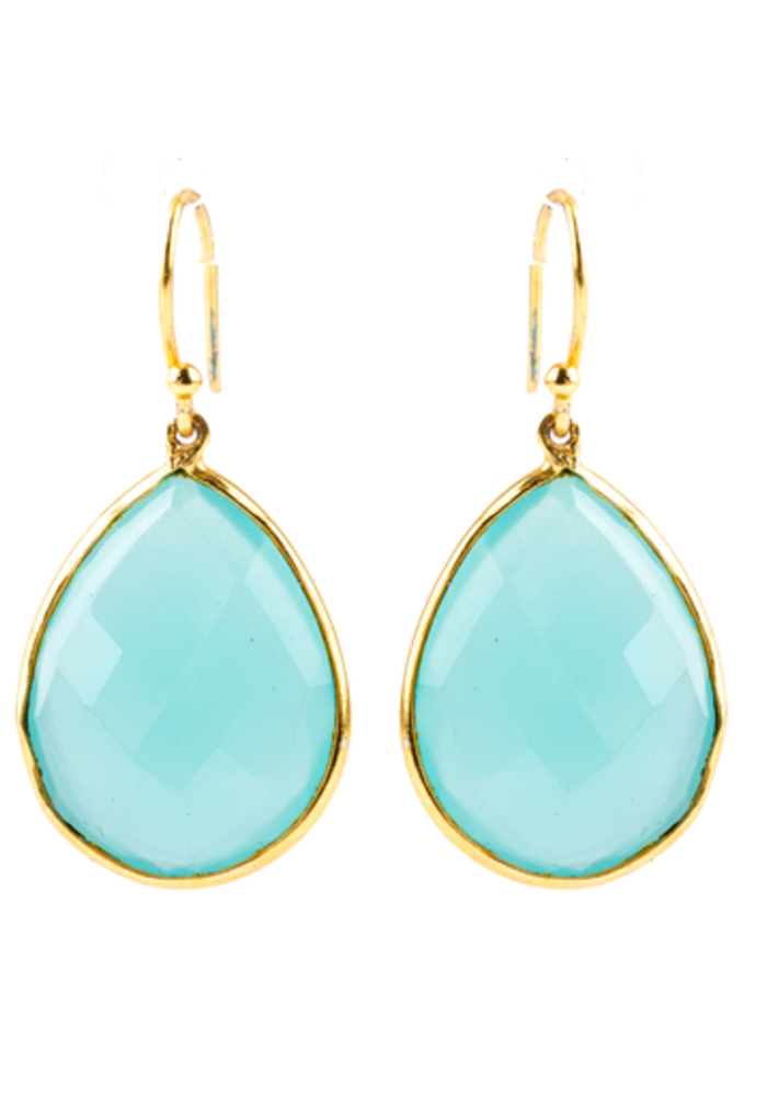 Large Chalcedony Teardrop Earrings