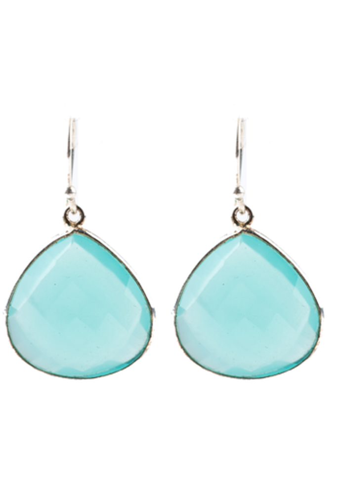 Chalcedony pear shaped earrings