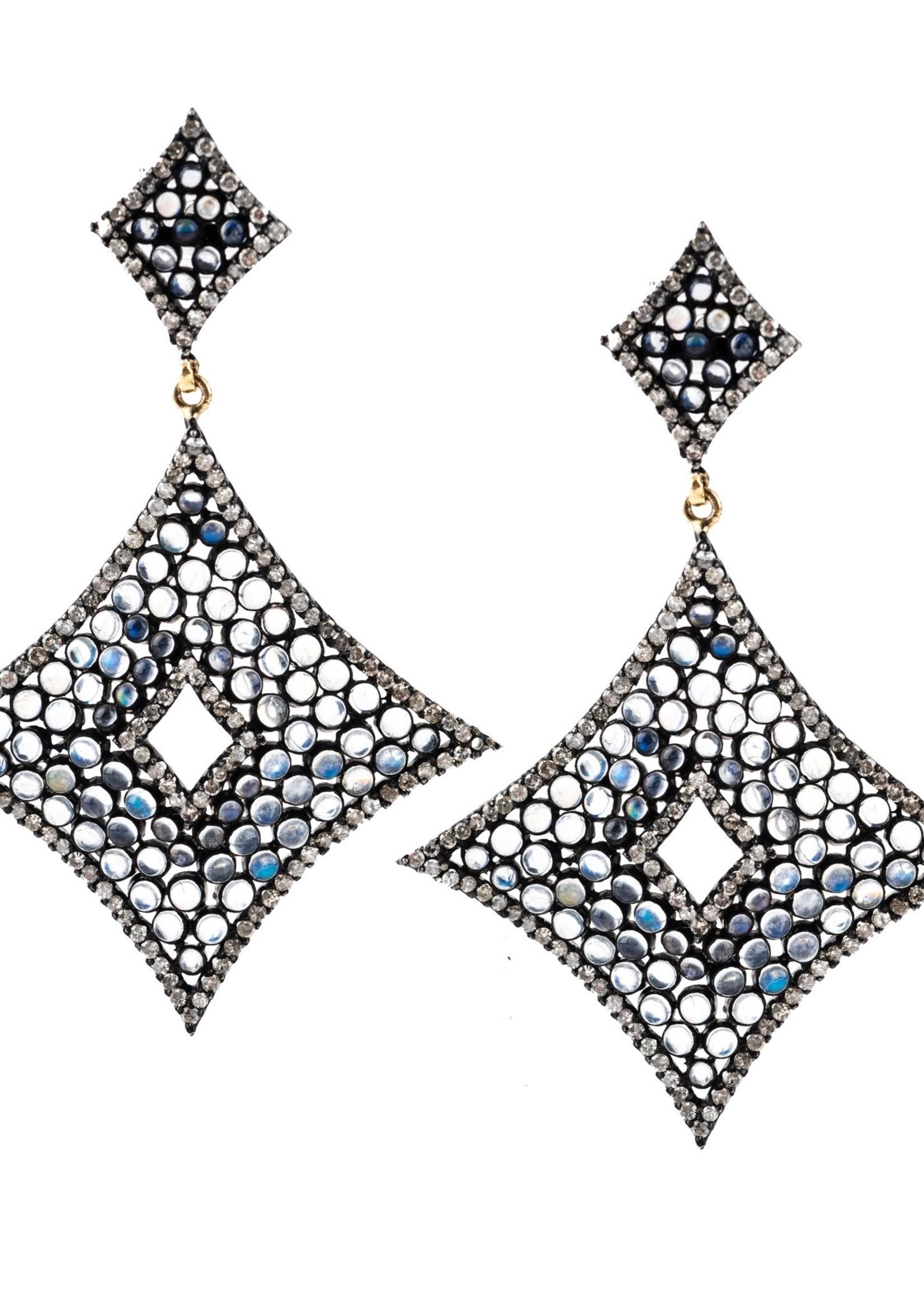 Mina Danielle Wide Diamond Shaped Moonstone and Diamond Earrings