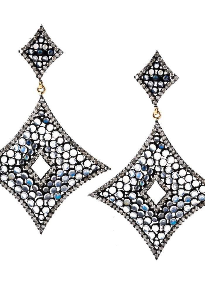 Wide Diamond Shaped Moonstone and Diamond Earrings