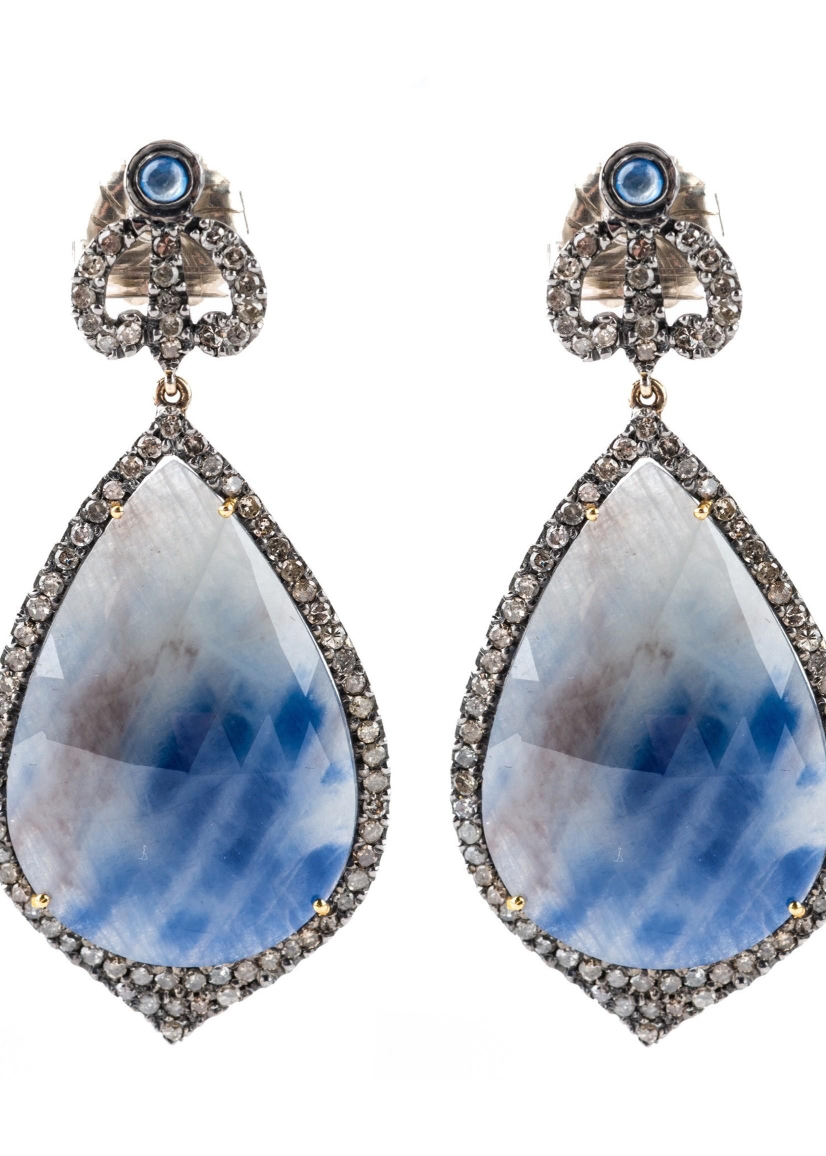 Mina Danielle Teardrop Sapphire and Diamond Earrings with Crown Diamond Tops