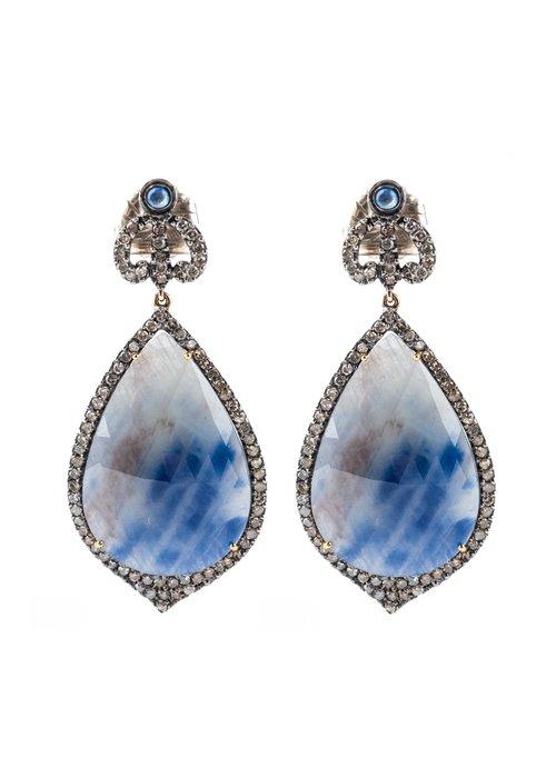 Mina Danielle Teardrop Sapphire and Diamond Earrings