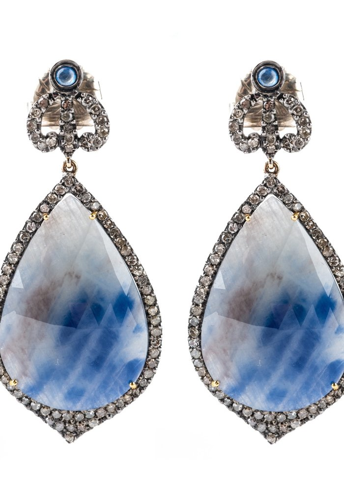 Teardrop Sapphire and Diamond Earrings with Crown Diamond Tops