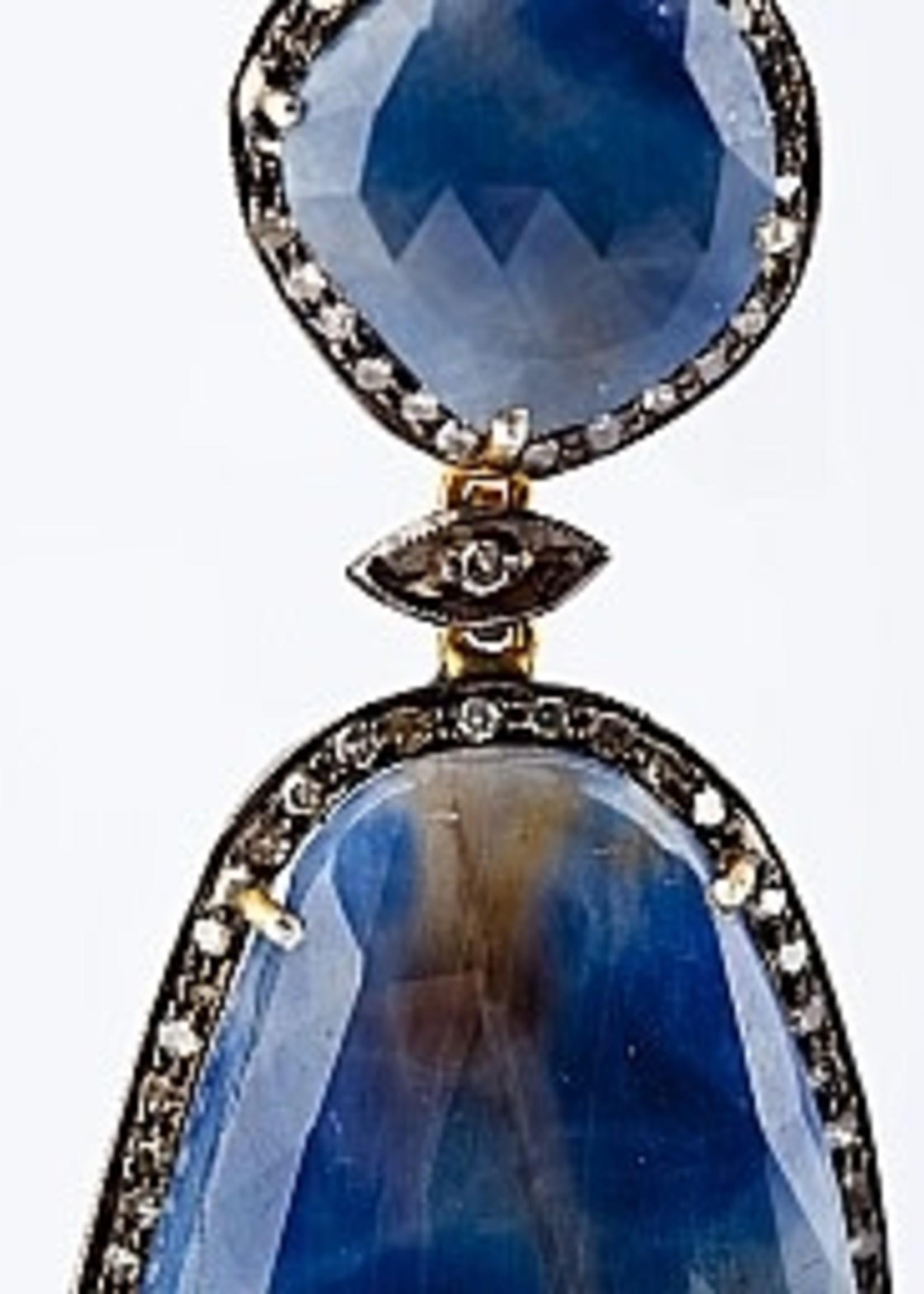 Mina Danielle Large Oval Sapphire and Diamond Earrings