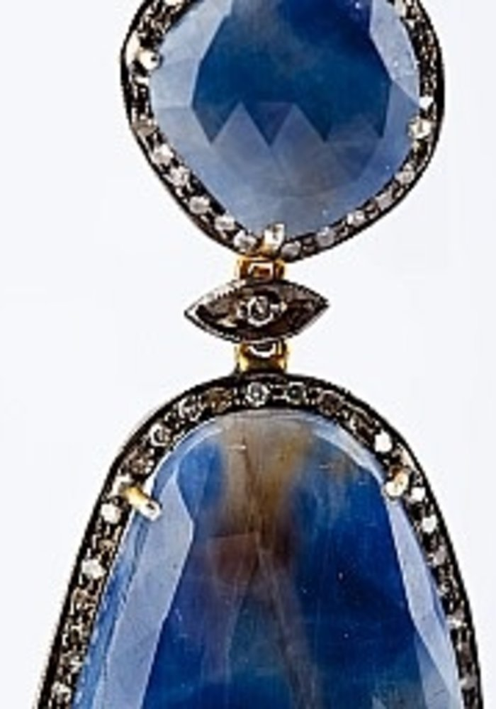 Large Oval Sapphire and Diamond Earrings