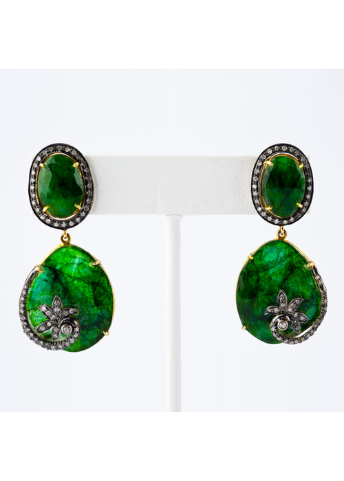 Mina Danielle Diamond and Emerald Earrings