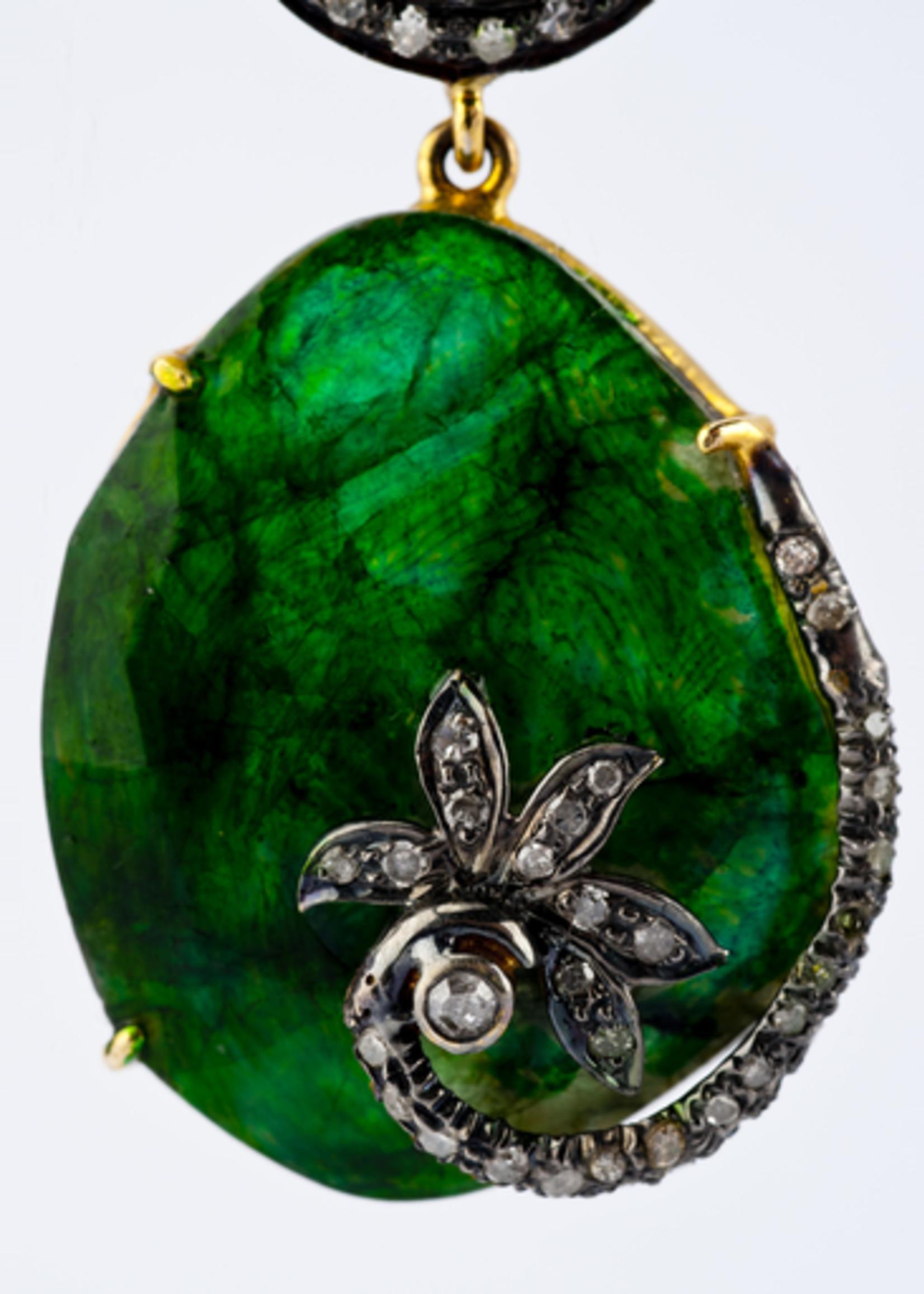 Mina Danielle Diamond and Emerald Earrings
