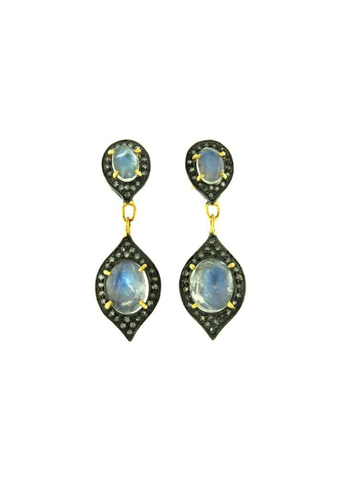 Mina Danielle Delicate Moonstone and Diamond Drop Earrings