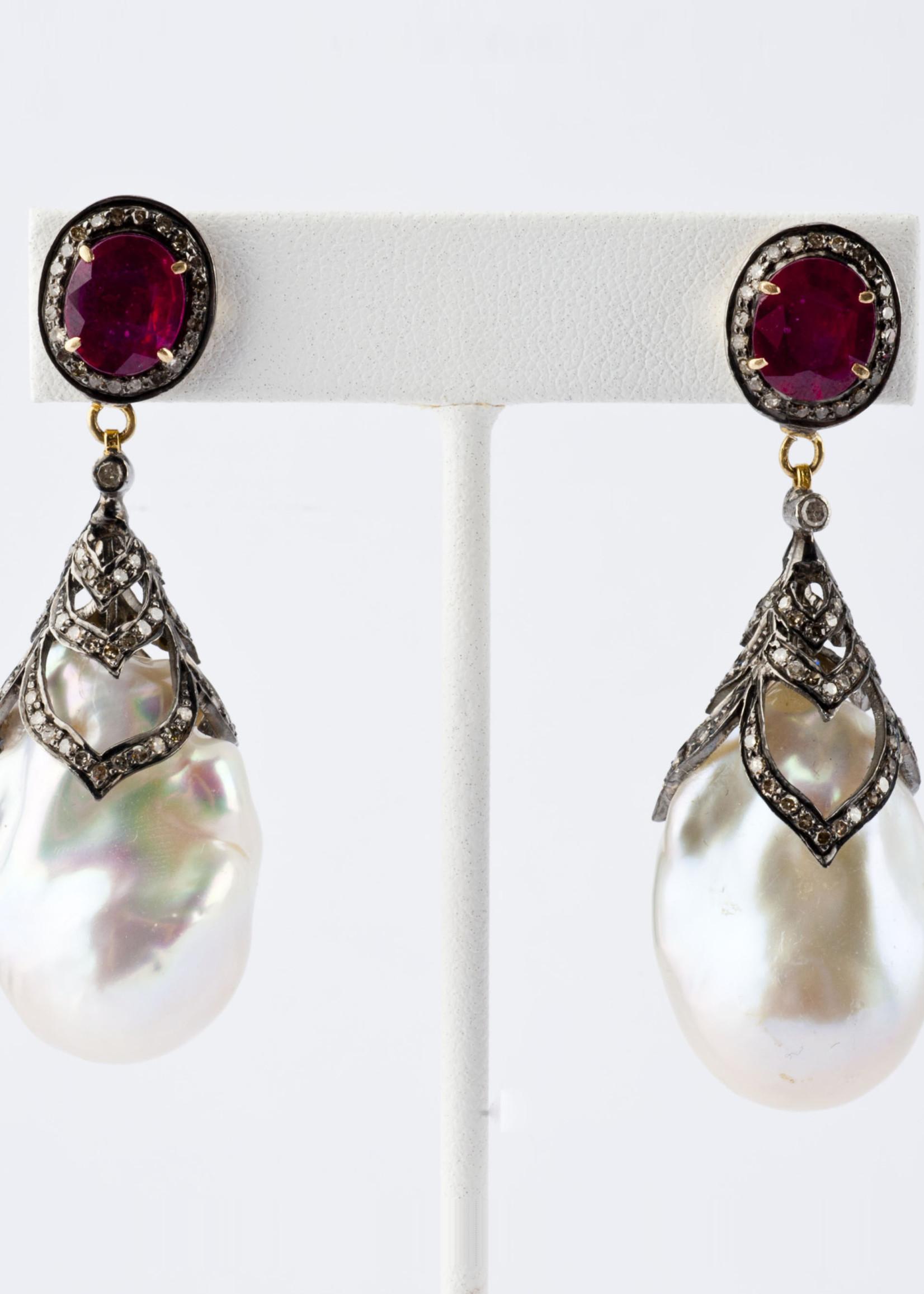 Mina Danielle Ruby, Pavé Diamond and Pearl Earrings