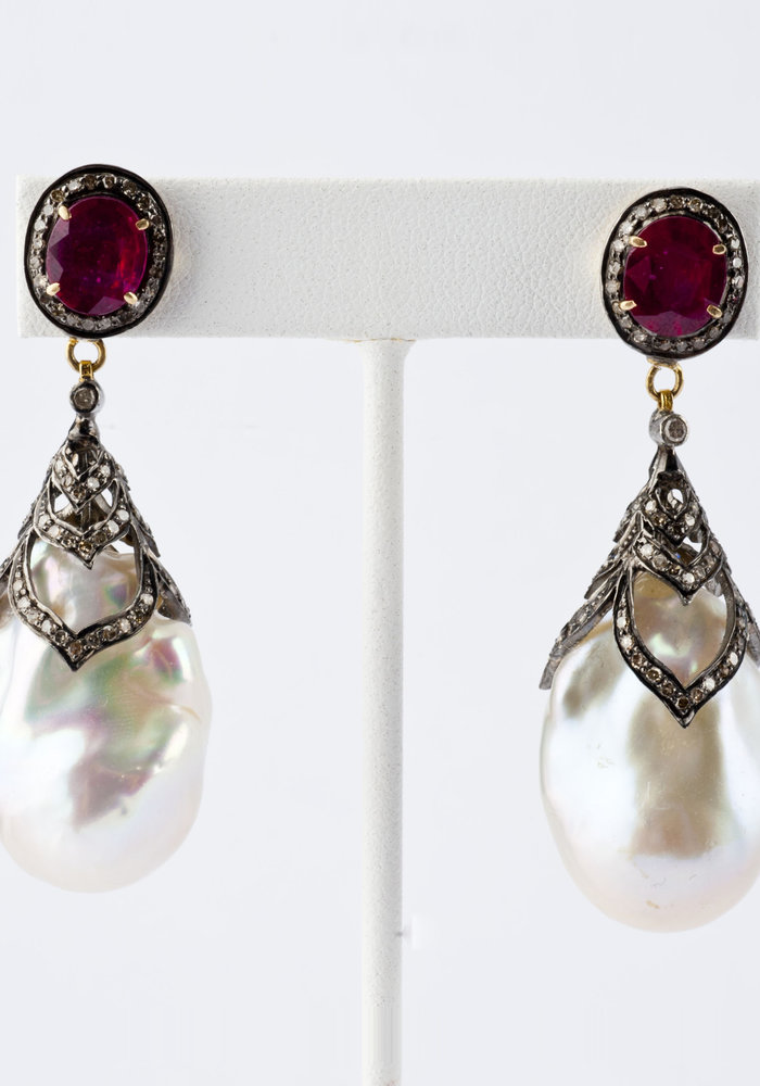 Ruby, Pavé Diamond and Pearl Earrings