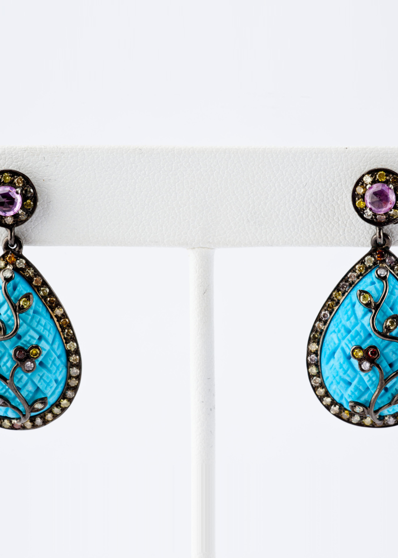 Mina Danielle Turquoise, Aqua and Rose Cut Diamond Pear Shape Earrings