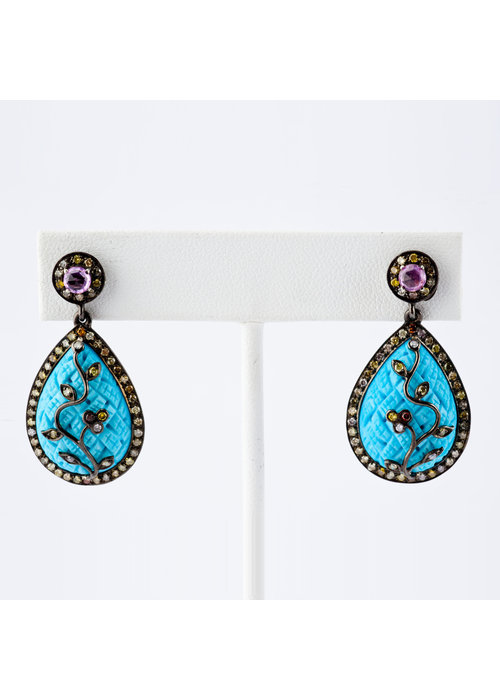 Mina Danielle Turquoise, Aqua and Rose Cut Diamond Pear Shape Earrings