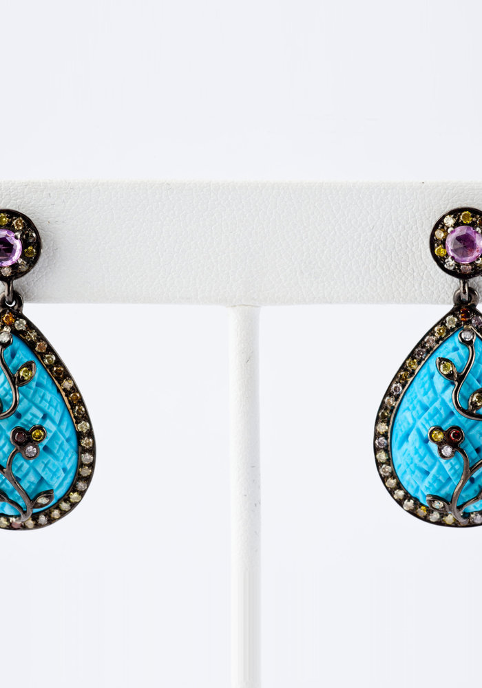 Turquoise, Aqua and Rose Cut Diamond Pear Shape Earrings