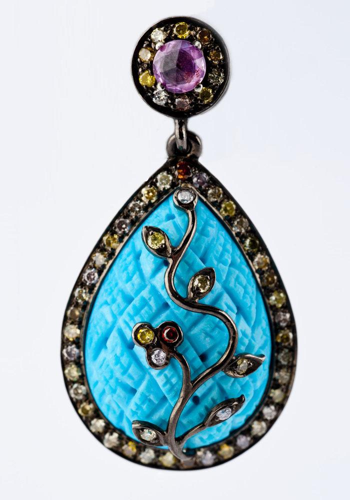 Turquoise, Aqua and Rose Cut Diamond Pear Shape Earrings