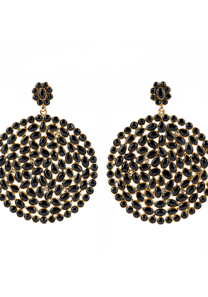 Black Spinel and Round Diamond Shaped Earrings