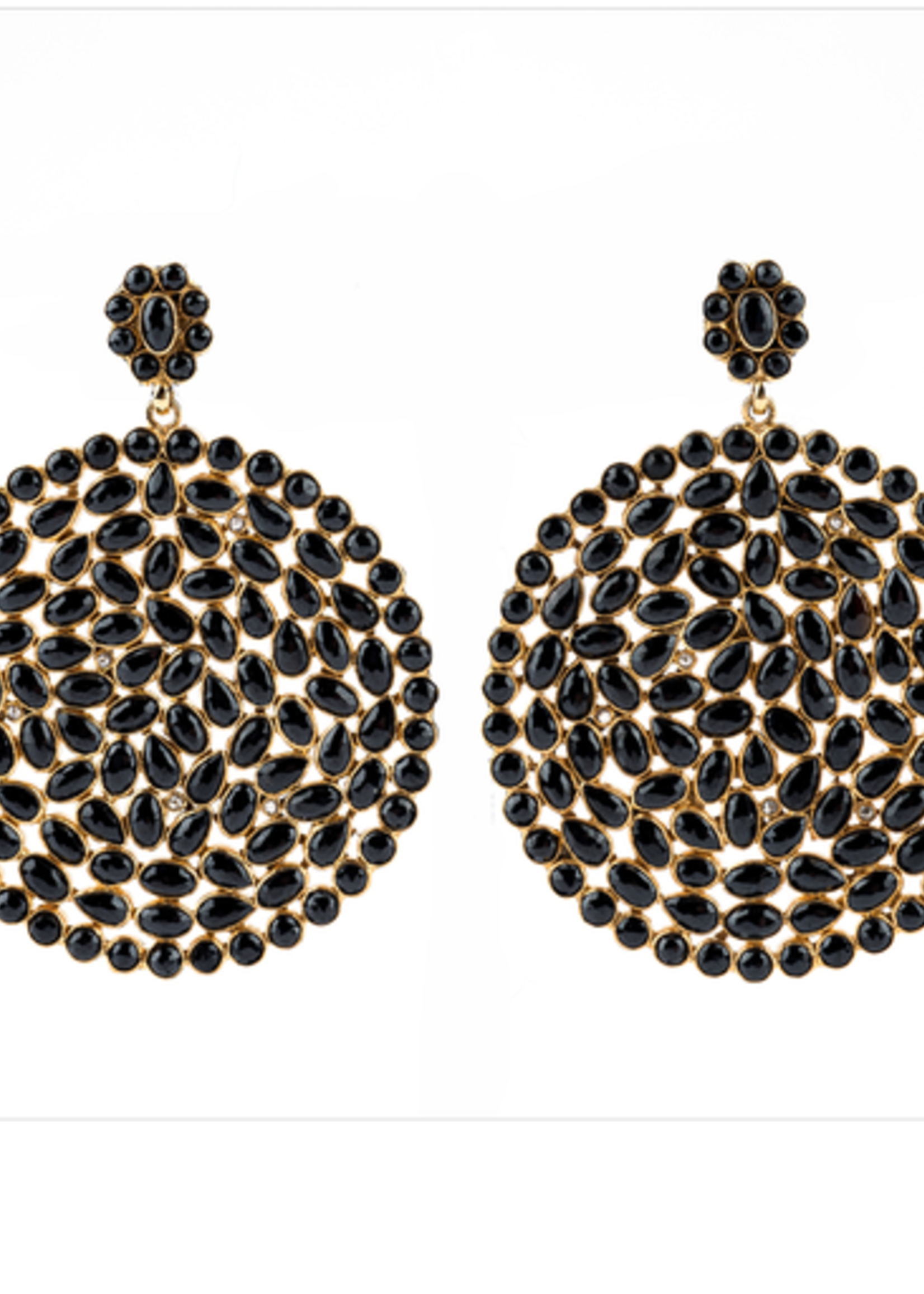 Mina Danielle Black Spinel and Round Diamond Shaped Earrings