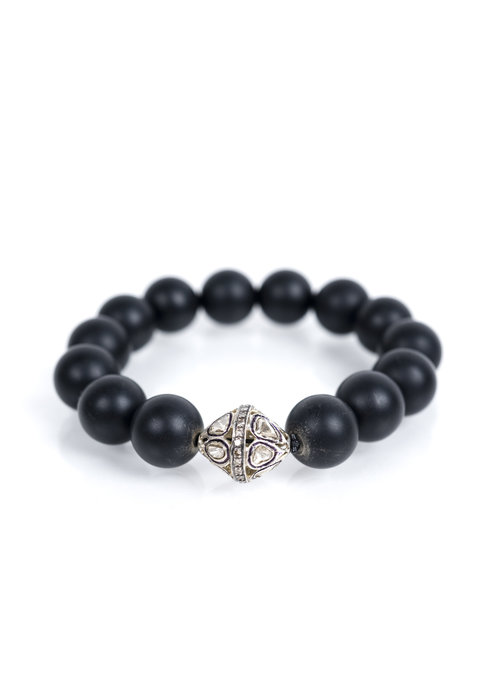 Mina Danielle Black Onyx Stretch with Rose Cut Diamond Bead
