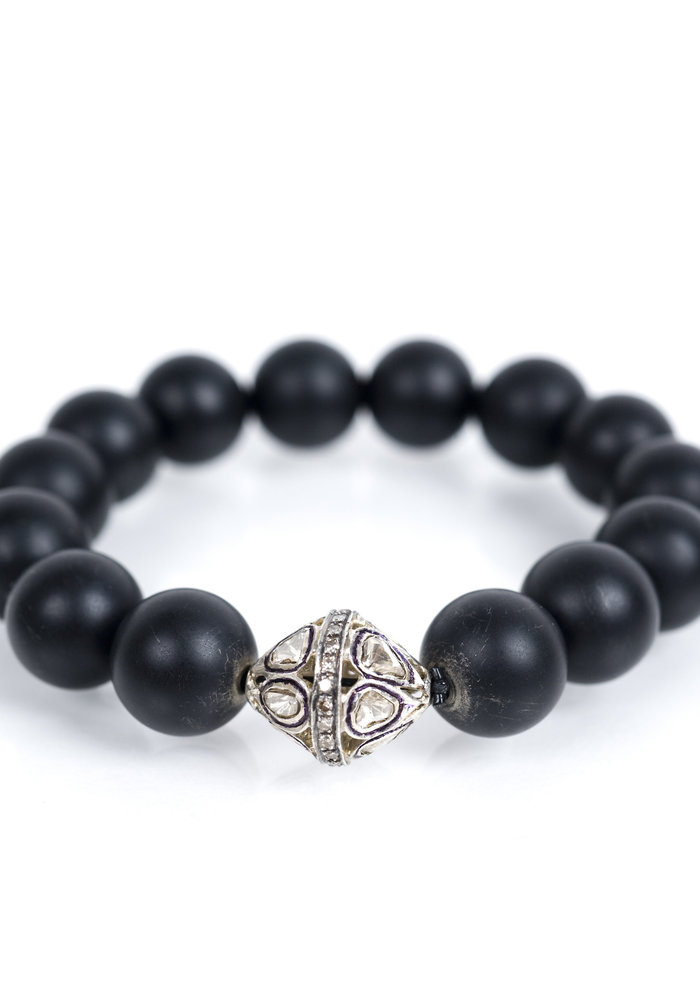 Black Onyx Stretch with Rose Cut Diamond Bead