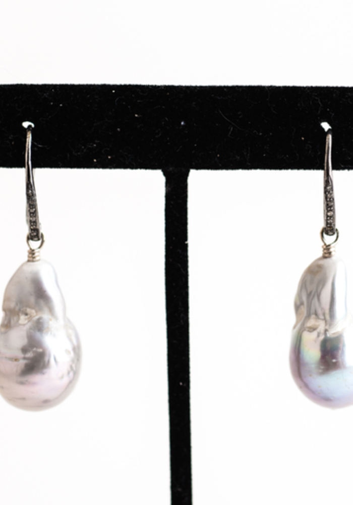 Gray Baroque Pearl with Gold Diamond Ear Wires