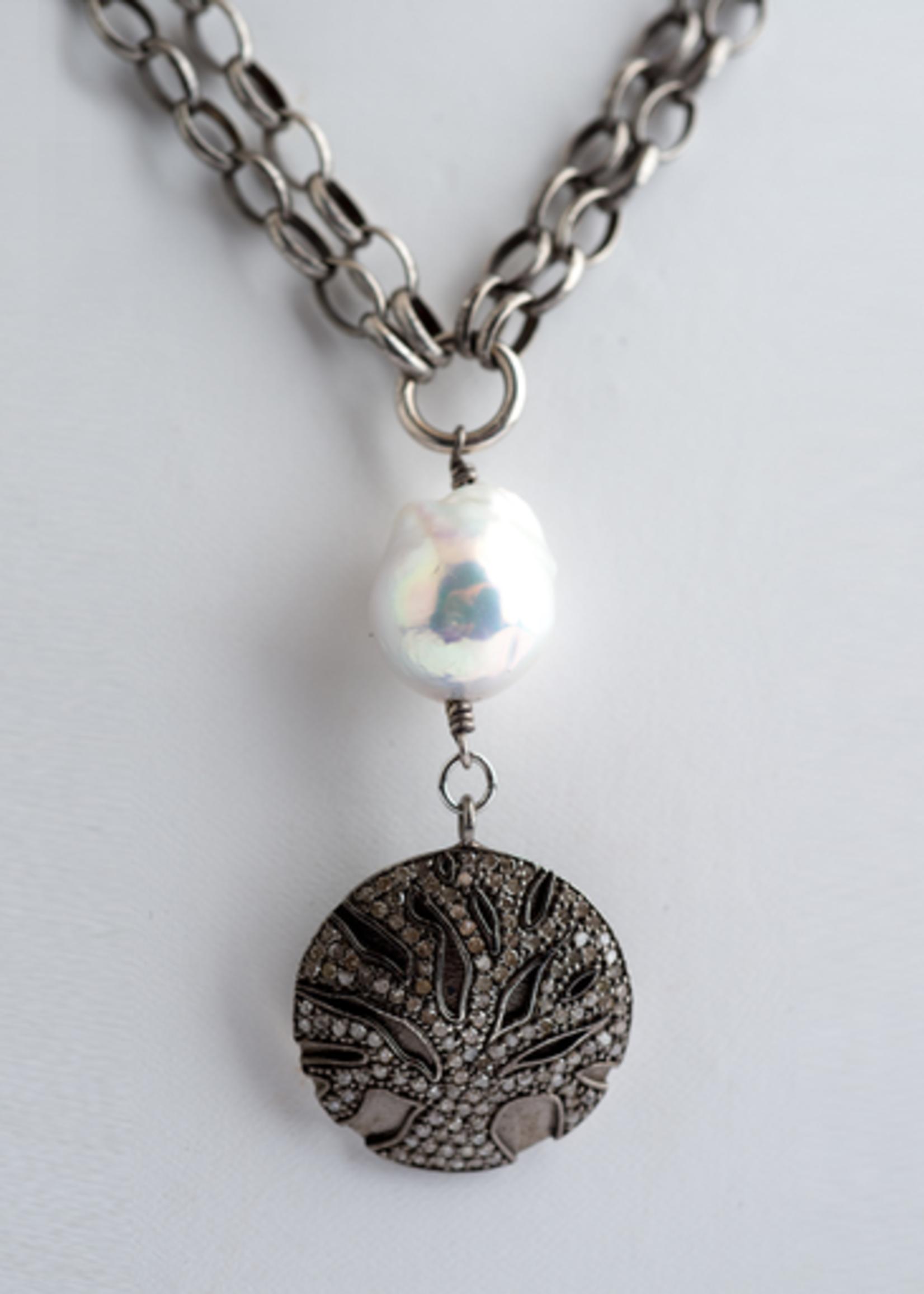 Mina Danielle Double Strand Silver Chain with Baroque Pearl & Diamond Tree of Life Pendant