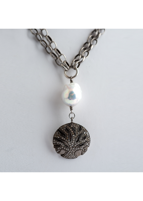 Mina Danielle Double Strand Silver Chain with Baroque Pearl & Diamond Tree of Life Pendant