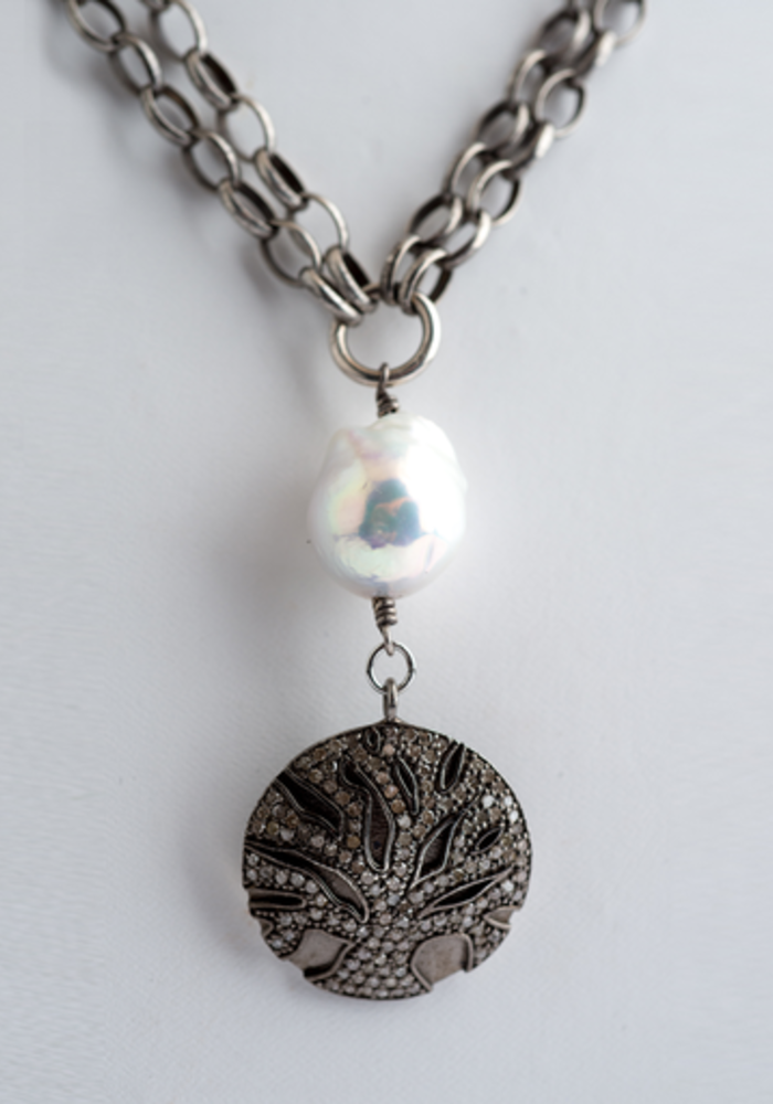 Double Strand Silver Chain with Baroque Pearl & Diamond Tree of Life Pendant