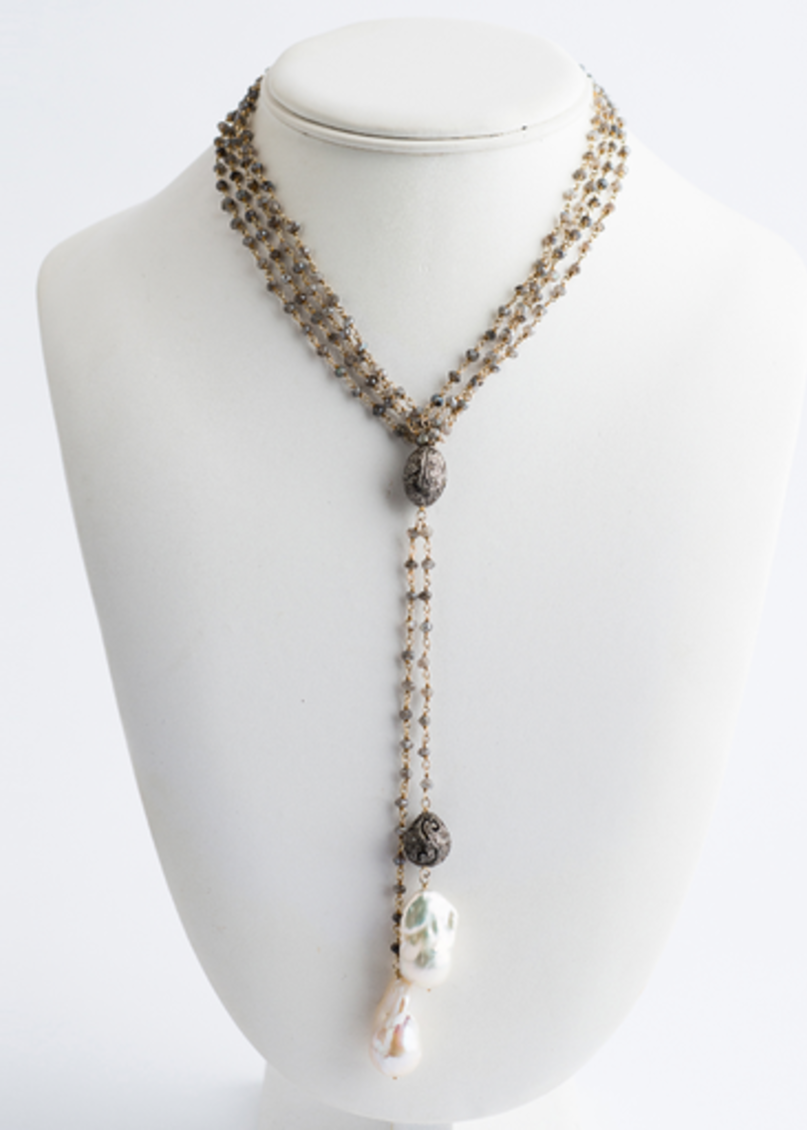 Mina Danielle Double Moonstone & Gold Chain with 2 Hanging Baroque Pearls and Diamond Bead. Can be worn long or as a lariat