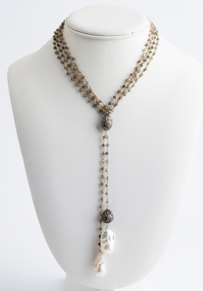 Double Moonstone & Gold Chain with 2 Hanging Baroque Pearls and Diamond Bead. Can be worn long or as a lariat