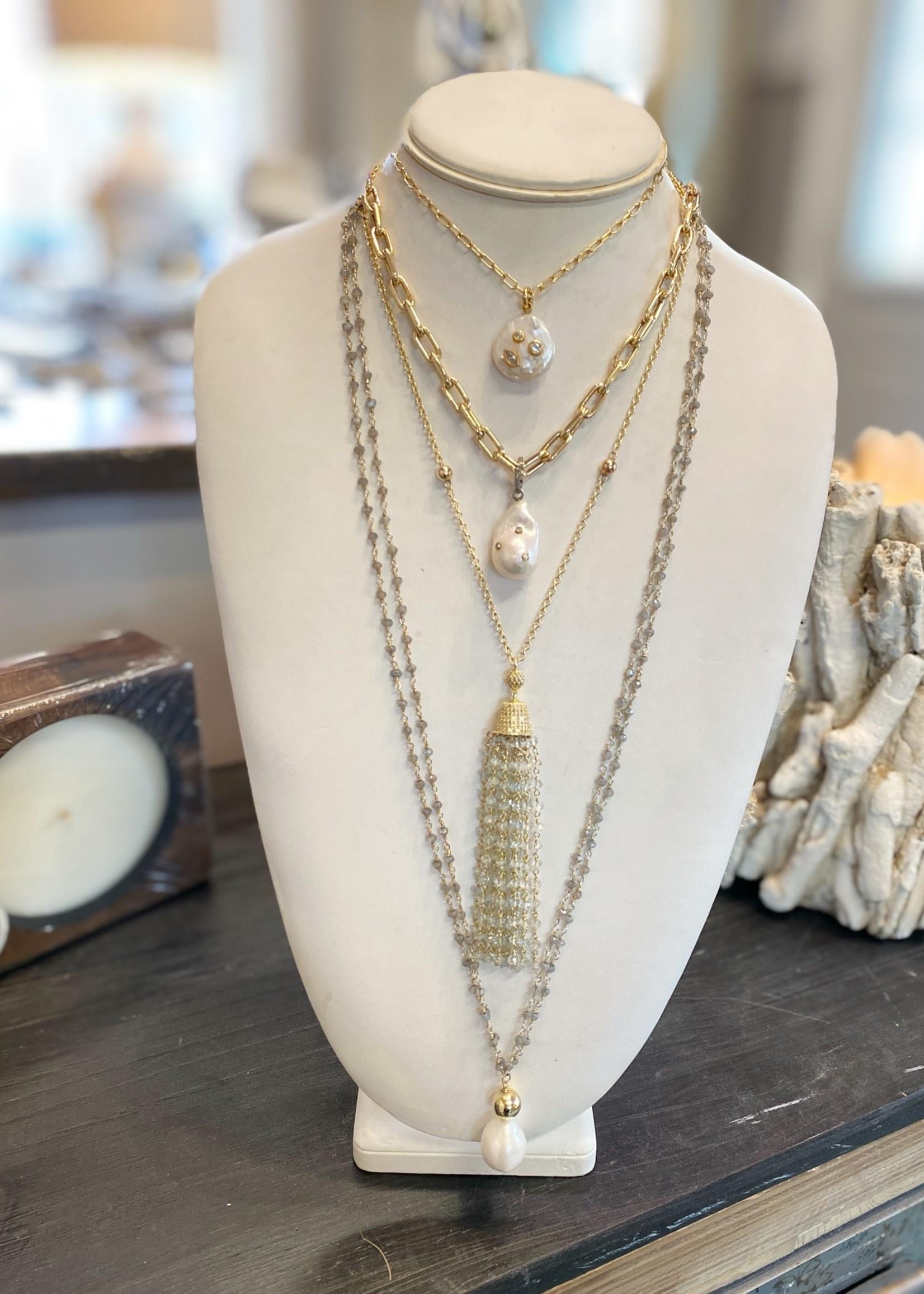 Mina Danielle 14k Gold Large Elongated Box Chain Necklace