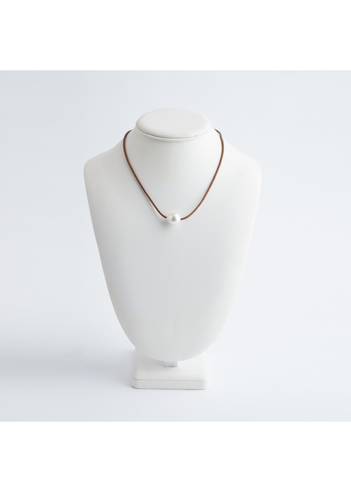 Mina Danielle White South Sea Pearl Necklace on Tan Leather Cord