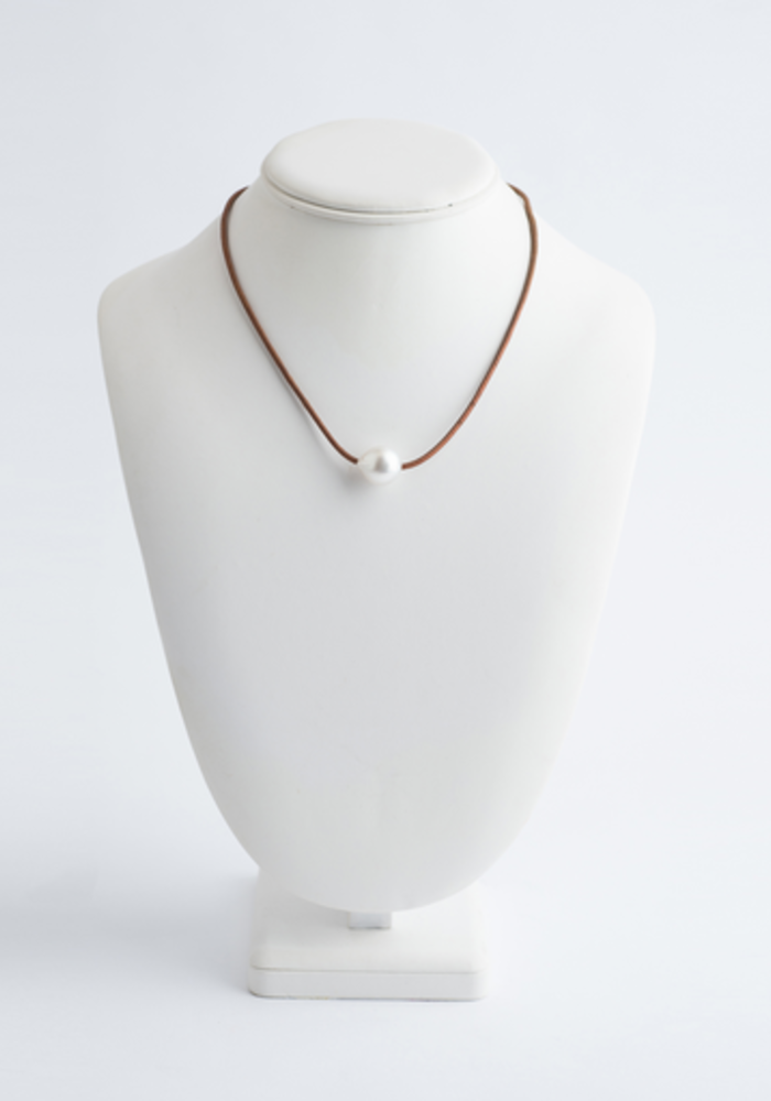 White South Sea Pearl Necklace on Tan Leather Cord
