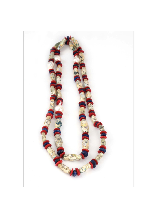 Mina Danielle African Tribal Necklace with Shell and Baroque Pearls