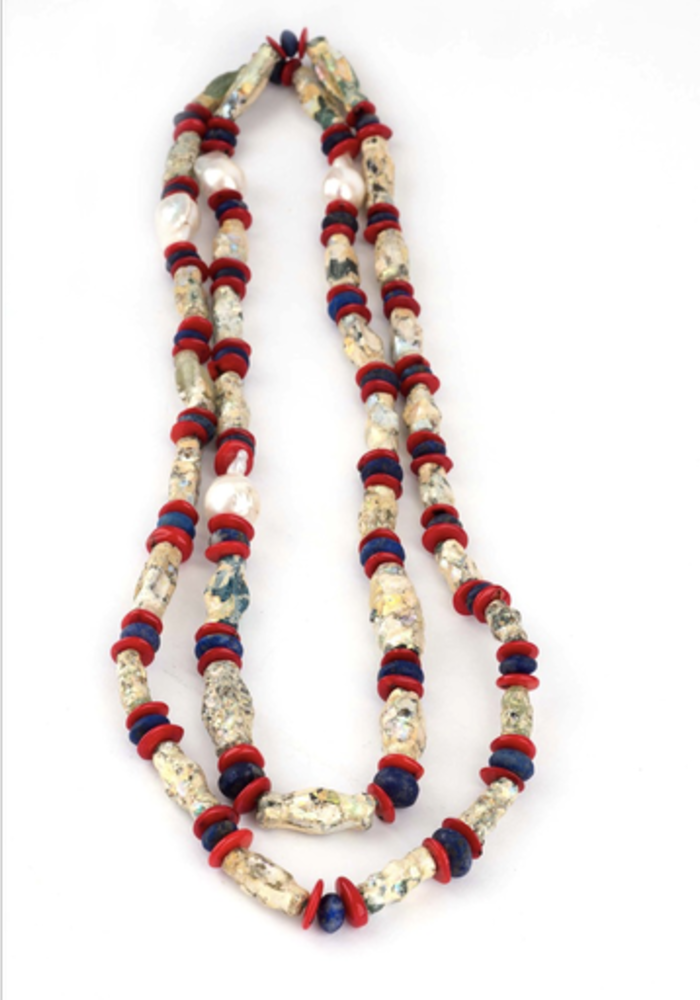 African Tribal Necklace with Shell and Baroque Pearls