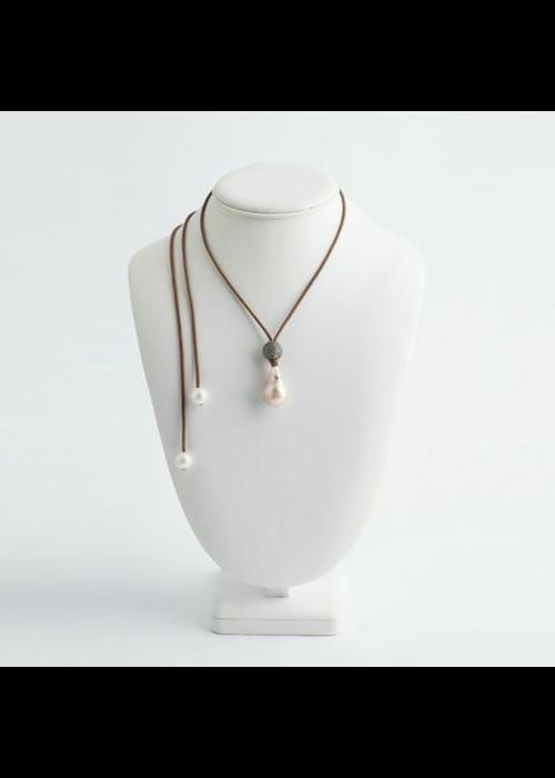 Mina Danielle Baroque Pearl and Diamond Ball Drop Necklace