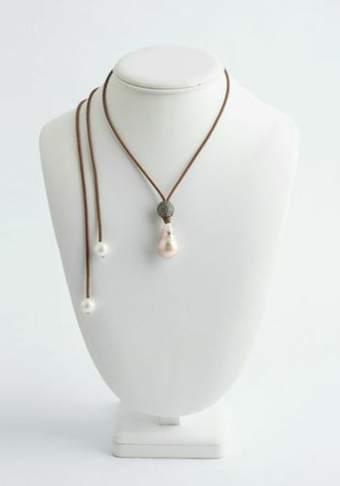 Baroque Pearl and Diamond Ball Drop Necklace
