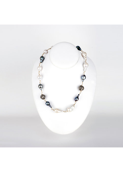 Mina Danielle Baroque Pearl Chain Link Necklace with 3 Rose Cut Diamonds