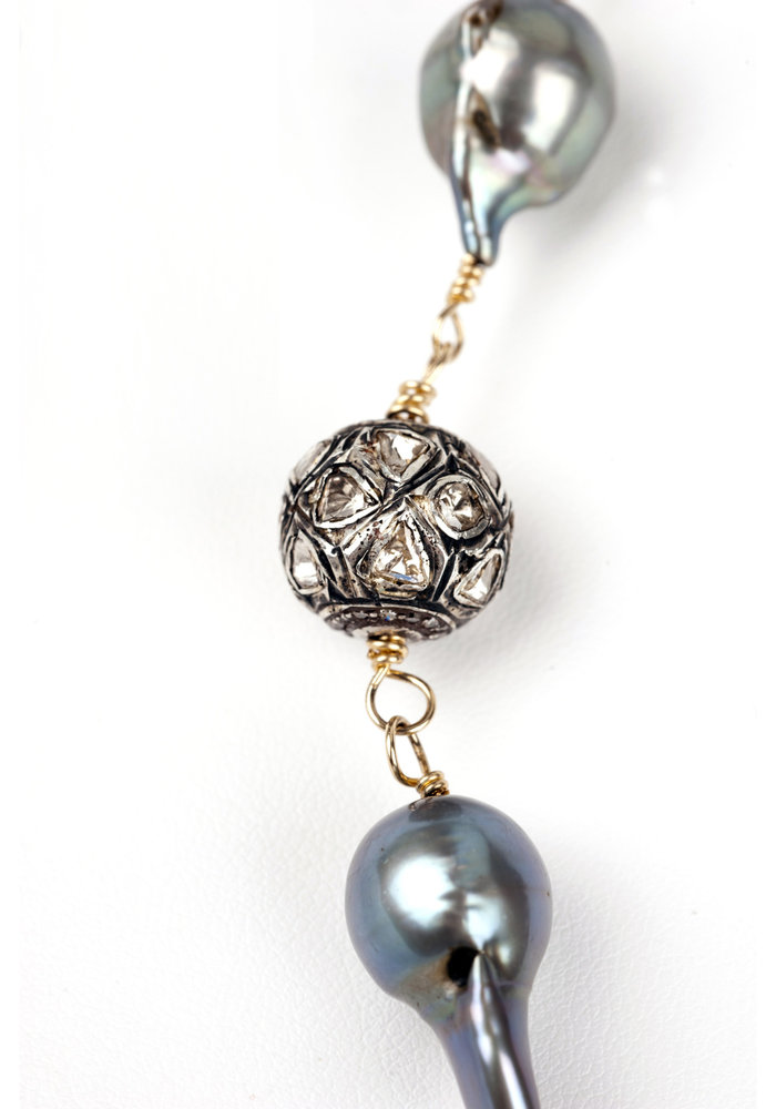 Baroque Pearl Chain Link Necklace with 3 Rose Cut Diamonds