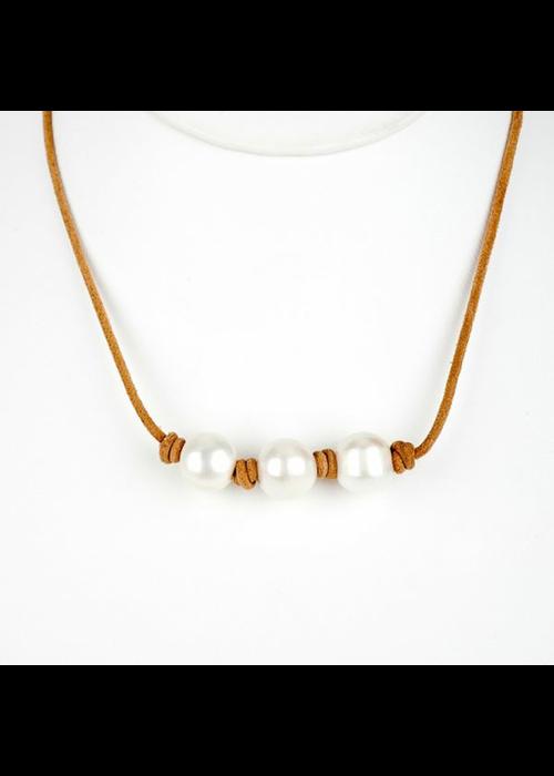 Mina Danielle 3 White Fresh Water Pearls on Tan Leather Cord